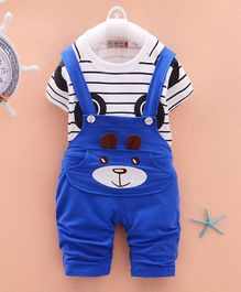 Awabox Bear Patched Dungaree With Tee - Blue