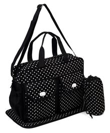 Diaper Bag With Changing Mat & Bottle Holder Dots Print - Black