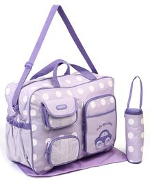 Diaper Bag With Changing Mat & Bottle Holder Car Print - Purple