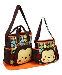 Diaper Bag Set Changing Mat Monkey Print - Brown
