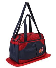 Diaper Bag With Changing Mat Elephant Embroidery - Navy Red