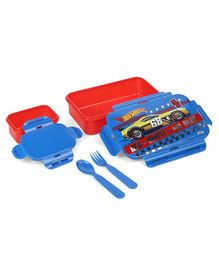 Hot Wheels Lunch Box With Fork & Spoon - Red Blue