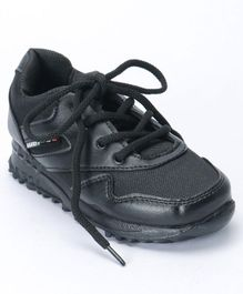 Force 10 Lace Tie Knot Style School Shoes - Black