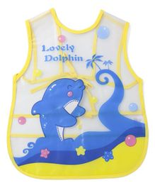 Alpaks Apron With Pocket Lovely Dolphin Print - Yellow Blue