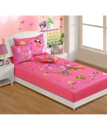 Swayam Fairy U0026 Castle Print Single Bed Sheet With 1 Pillow Cover   Pink