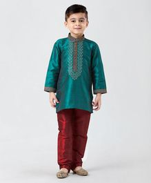 Babyhug Full Sleeves Kurta Pyjama Set Embroidered - Blue & Red