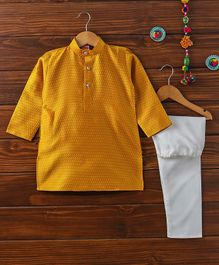 Babyhug Full Sleeves Kurta Pyjama Set - Golden