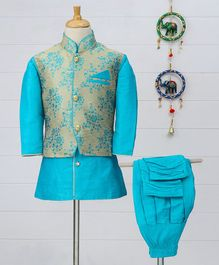 Babyhug Full Sleeves Kurta & Jodhpuri Breeches With Jacket - Blue