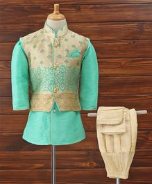Babyhug Full Sleeves Kurta & Jodhpuri Breeches With Jacket - Green