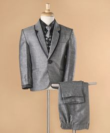 Rikidoos Full Sleeves 4 Pcs Party Wear With Check Waist Coat  - Grey