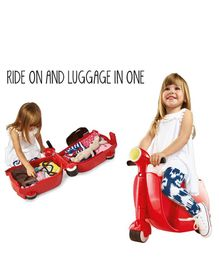 Worlds Apart Skoot Kids Manual Push Ride On Scooter Cum Travel Bag - Red