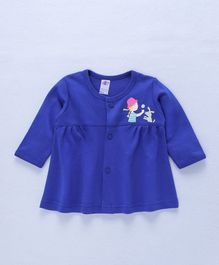 Zero Full Sleeves Frock Girl & Puppy Print - Royal Blue