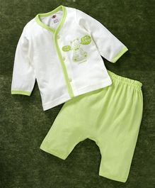 Zero Full Sleeves Vest And Diaper Leggings Bear Print - White Light Green