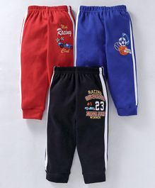 Zero Full Length Track Pants Racing Club Print Pack of 3 - Blue Red Black