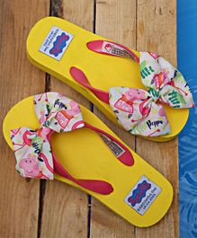 D'chica Bows Look Flip Flops - Yellow