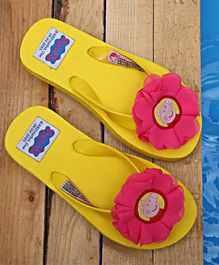 D'chica Flower Peppa Flip Flops - Yellow