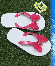 D'chica Butterfly Bows Flip Flops - White