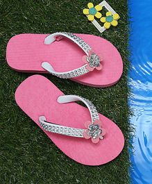 D'chica Sequined Flip Flops With Flower - Pink