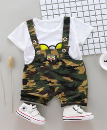 Pre Order - Wonderland Short Sleeves Tee With Camouflage Dungaree Set - White