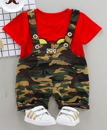 Pre Order - Wonderland Short Sleeves Tee With Camouflage Dungaree Set - Red
