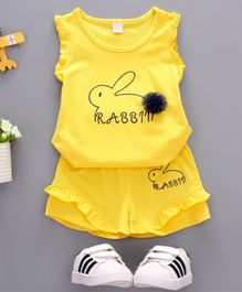 Pre Order - Wonderland Rabbit Printed Sleeveless Tee With Shorts Set - Yellow