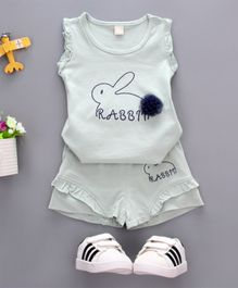 Pre Order - Wonderland Rabbit Printed Sleeveless Tee With Shorts Set - Grey