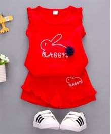 Pre Order - Wonderland Rabbit Printed Sleeveless Tee With Shorts Set - Red