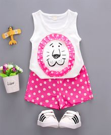 Pre Order - Wonderland Lion Face Sleeveless Tee With Polka Dots Shorts Set - White & Pink