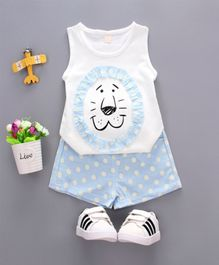 Pre Order - Wonderland Lion Face Sleeveless Tee With Polka Dots Shorts Set - White & Blue