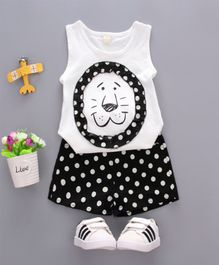 Pre Order - Wonderland Lion Face Sleeveless Tee With Polka Dots Shorts Set - White & Black
