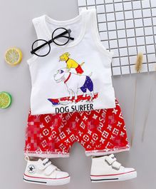 Pre Order - Wonderland Two Dogs Printed Vest With Digital Print Shorts Set - White & Red