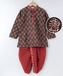 BownBee Sanganeri Printed Dhoti Kurta - Brown & Red