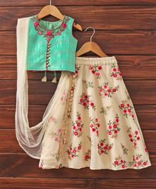 Babyhug Sleeveless Lehenga Set With Dupatta Floral Print - Sea Green & Beige