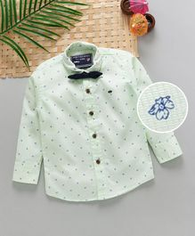 Jash Kids Full Sleeves Floral Printed Party Wear Shirt With Bow - Light Green