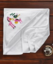 Mee Mee Hooded Towel Giraffe & Bird Embroidered - White