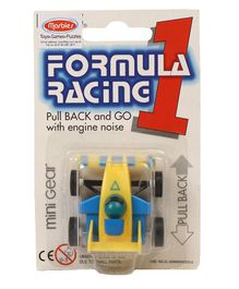 Marbles Pull back Mini Gear Formula Racing 1 Toy - Yellow & Blue