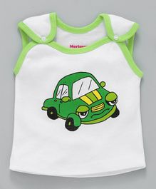 Morisons Baby Dreams Jhabla Vest Car Print - Green