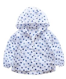 Pre Order - Awabox Printed Full Sleeved Jacket With Hood - Blue