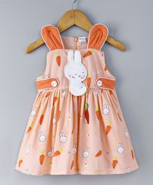 Doreme Sleeveless Frock With Bunny Applique & Carrot Print - Light Orange