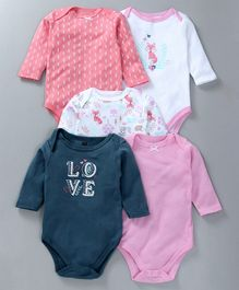 Hudson Baby Animal Print Pack Of 5 Onesies - Pink & Blue