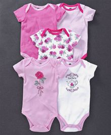 Hudson Baby Rose Print Pack Of 5 Onesies - Pink