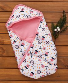 Morisons Baby Dreams Hooded Wrapper Anchor - Pink