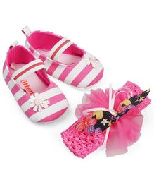 Kittens Shoes Flower Applique Booties With Headband - Pink