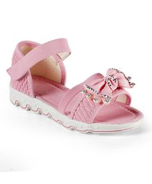 Kittens Shoes Diamond Studded Bow Sandals - Pink