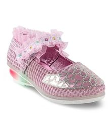 Kittens Shoes Beads Work Mary Jane - Pink