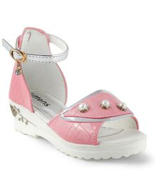 Kittens Party Wear Pearl Applique Sandals - Pink