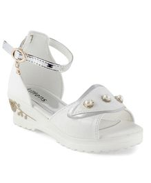 Kittens Party Wear Pearl Applique Sandals - White