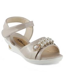 Kittens Pearl Applique Party Wear Sandals - Beige