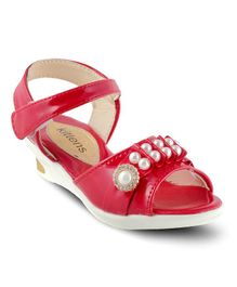 Kittens Pearl Applique Party Wear Sandals - Red