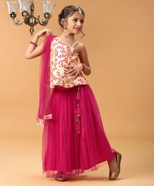 Babyhug One Shoulder Gota Work Choli WIth Lehenga - Pink